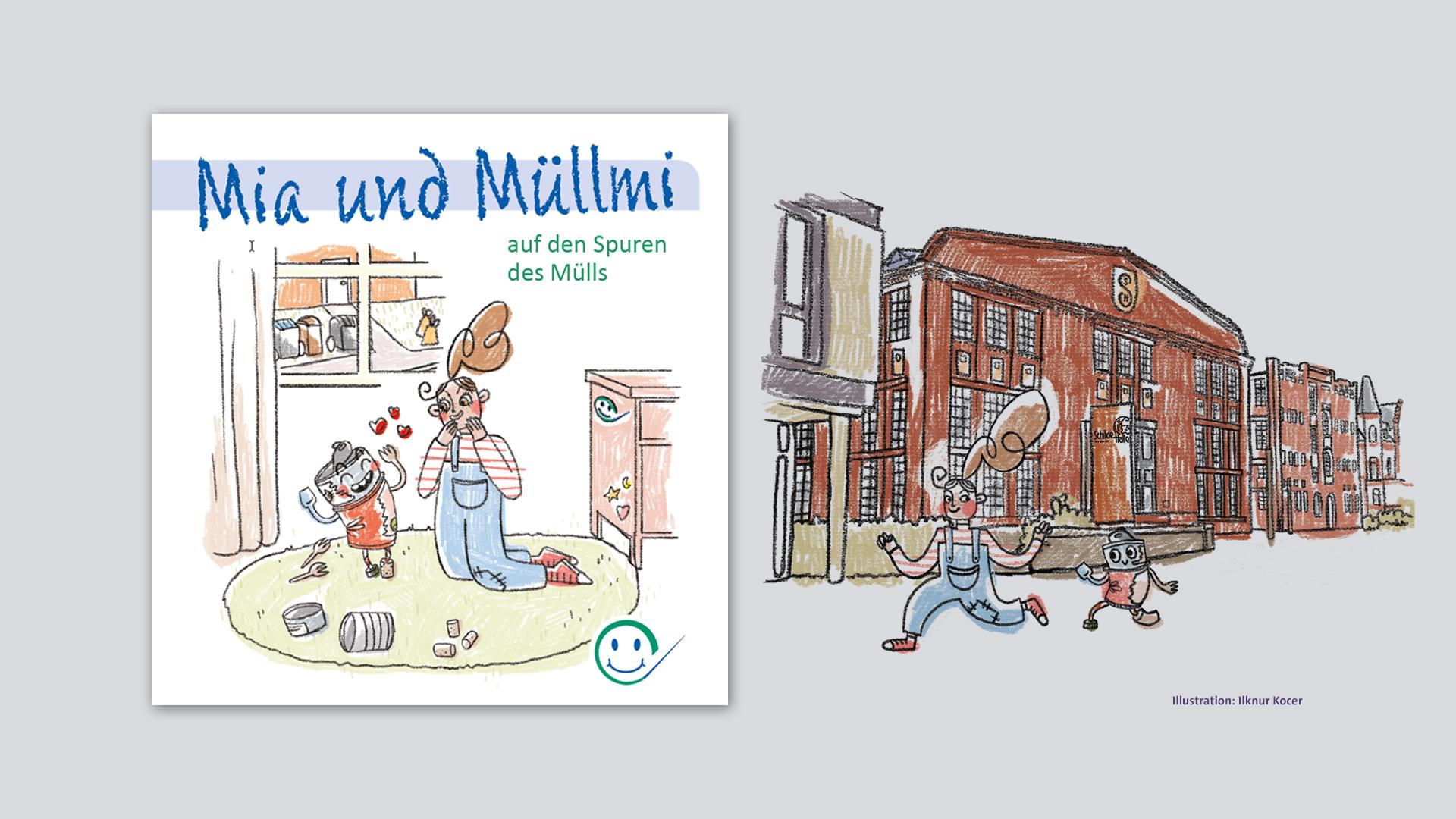 Illustrationen von Mia und Müllmi für den Abfallwirtschafts-Zweckverband Landkreis Hersfeld-Rotenburg (AZV)