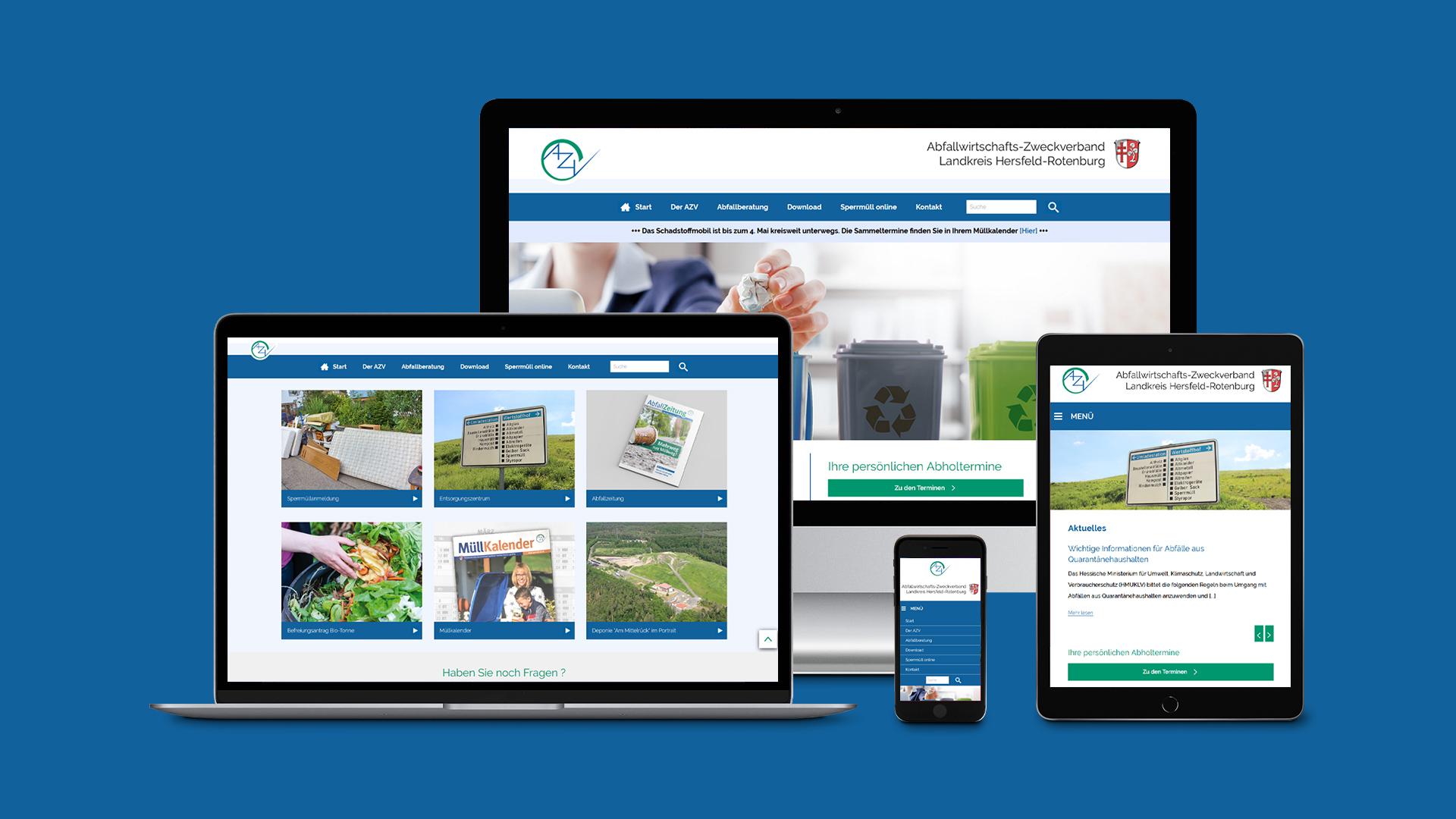 Internetseite des Abfallwirtschafts-Zweckverband Landkreis Hersfeld-Rotenburg (AZV)