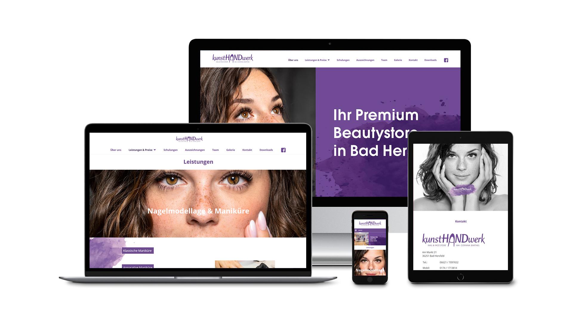Website des kunstHANDwerk Nail&Face Store