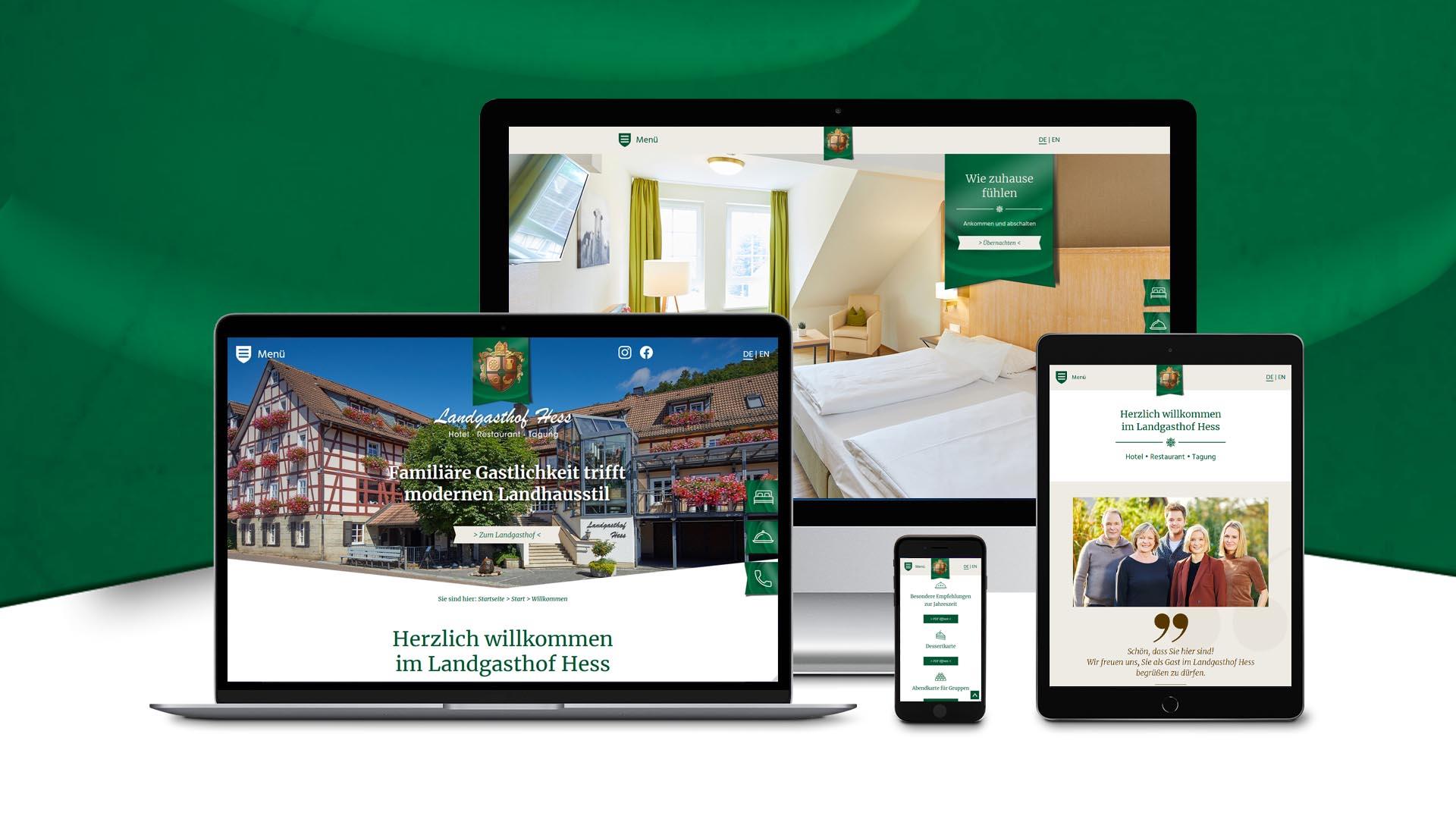 Responsives Webdesign, Konzeption, Text und Programmierung für den Landgasthof Hess