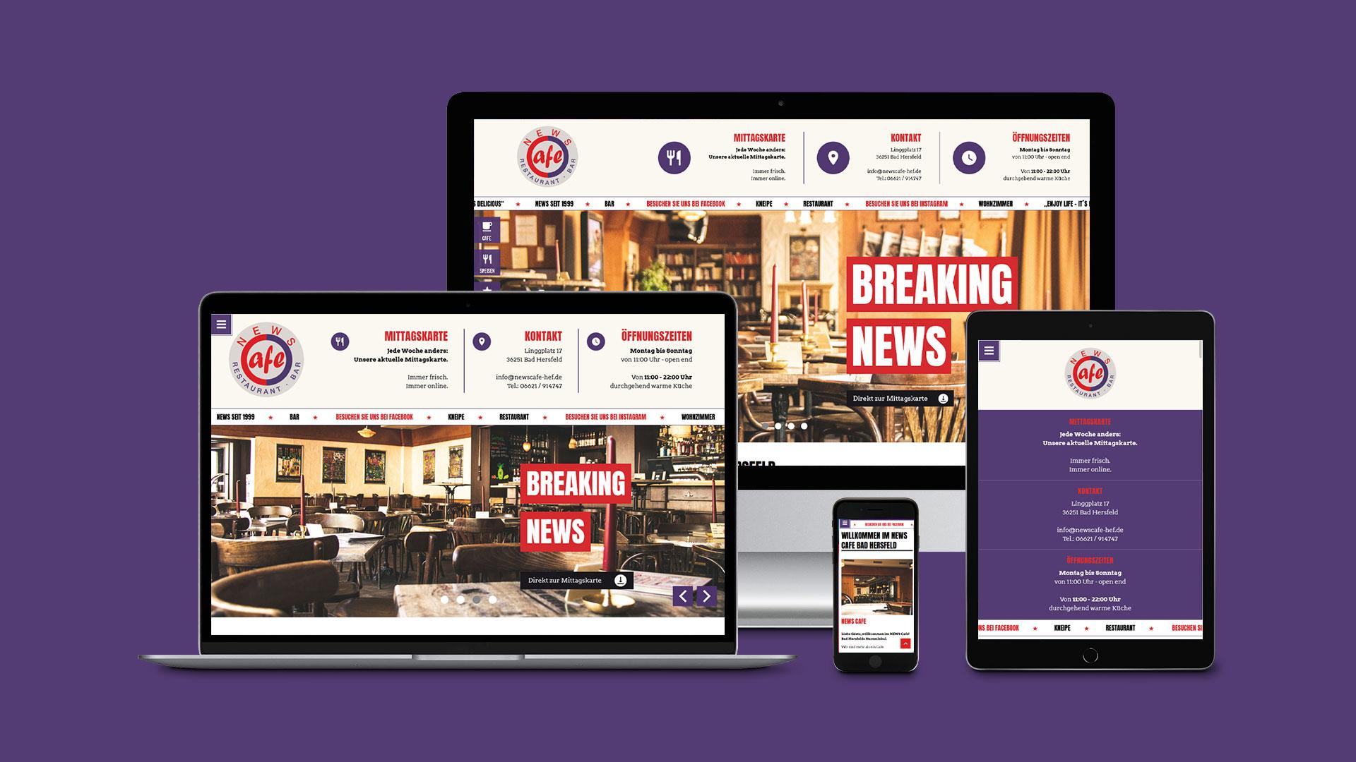Webdesign für das NEWS Café Bad Hersfeld