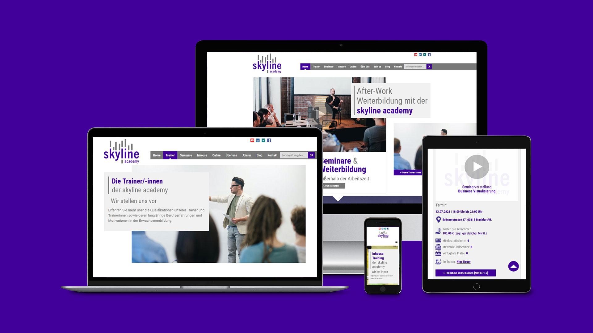 Webdesign und Programmierung mit eigenem CMS (Content-Management-System) für die skyline academy in Frankfurt am Main.